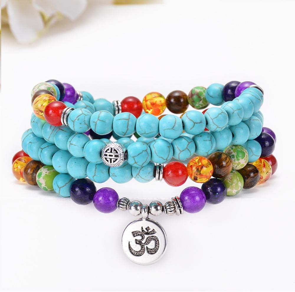 AOTEX Pulseras para Mujeres Hombres 108 Perlas Multi-Capa De Color Turquesa 7 Chakra Yoga Om Lotus Colgante Árbol De Vida Moda Retro Personalidad Simple Regalo Hembra