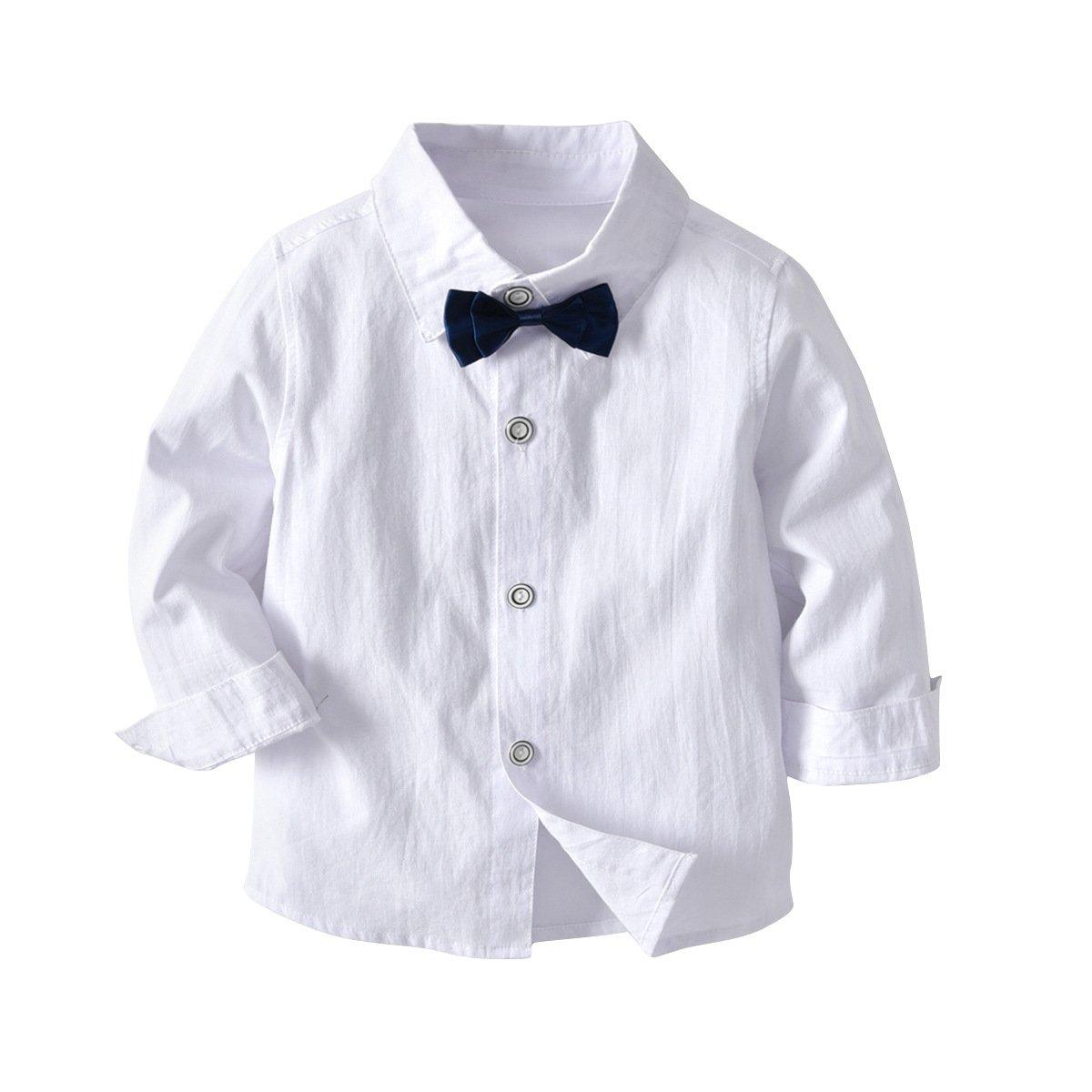 Vest Pants for Kid and Baby Boleyn Boy/'s 3 Pcs Suit Long Sleeve Bowtie Shirts