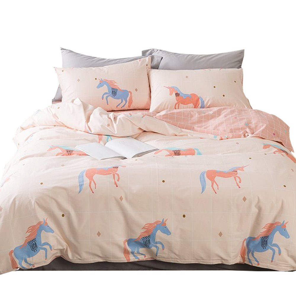 ORoa Soft Cute Cartoon Animal Bedding Duvet Cover Queen Full Size Set for Kids Boys Girls Cotton 100 Percent, Children Plaid Grid Bedding Sets Reversible Lightweight Breathable(Pink, Queen)