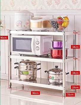 Estantes y soportes para ollas y sartenes HWF 3 Capas Estantería de Cocina Horno microondas Estanterías