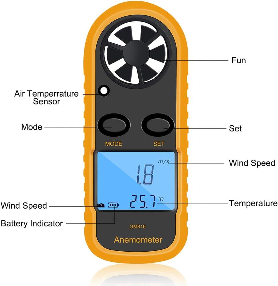 Topke GM816 num/érique An/émom/ètre Vent-Vitesse Jauge Compteur LCD Portable An/émom/ètre Thermom/ètre Airflow