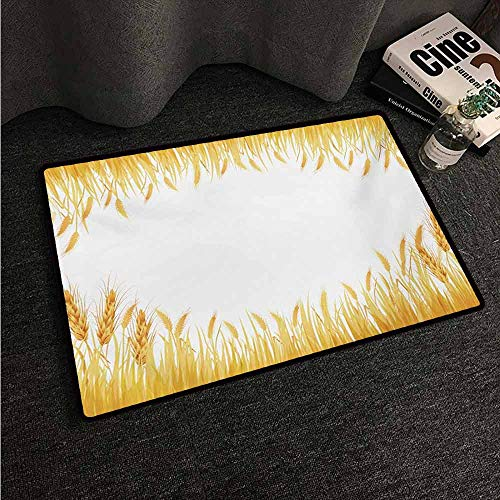 HCCJLCKS Washable Doormat Harvest Crop Rice Field Frame Cereal Bread Seasonal Farmland Flour Food Theme Machine wash/Non-Slip W24 xL35 Marigold Yellow White ()