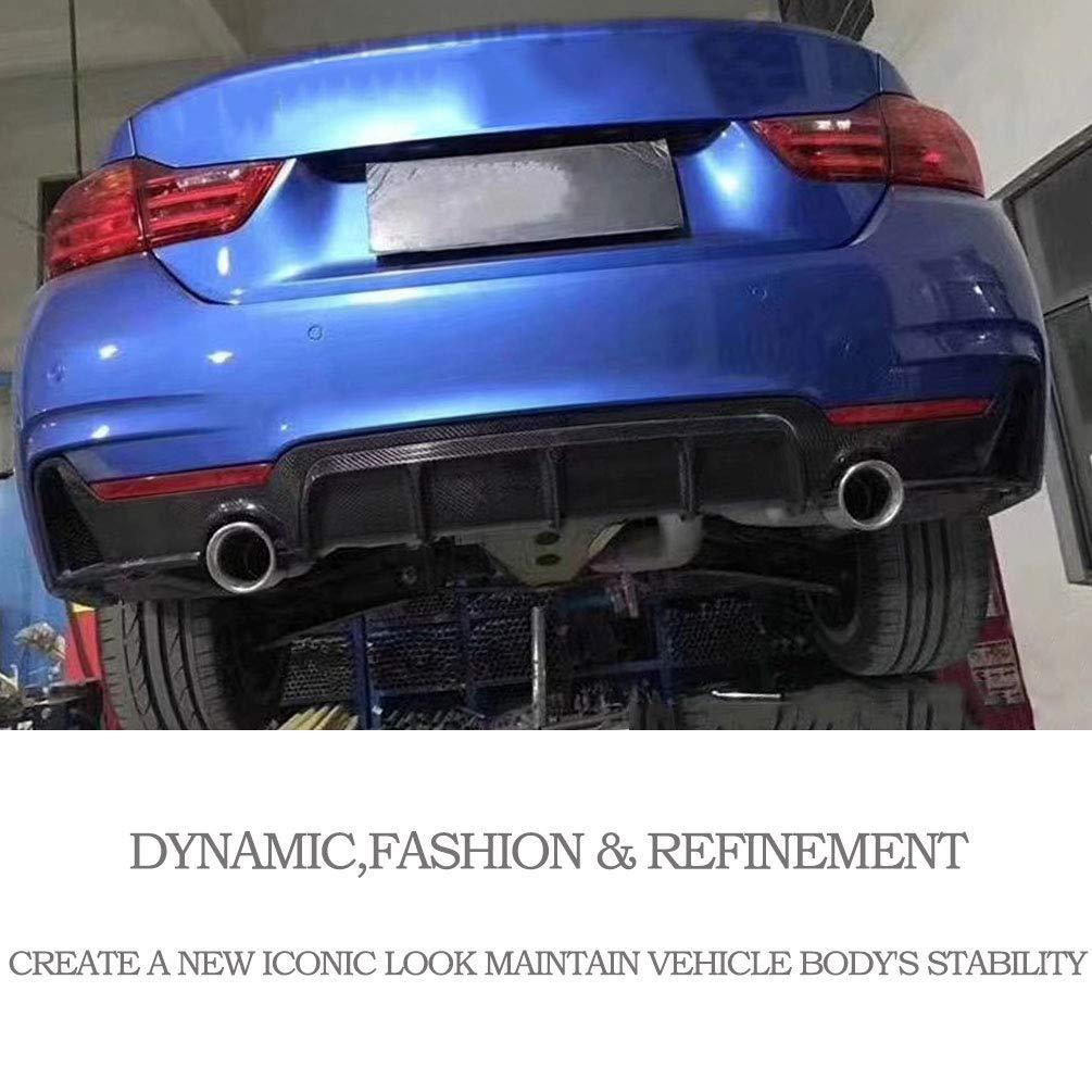 Single Exhaust Twin Outlet JC SPORTLINE fits BMW 4 Series F32 F33 F36 435i 420i 440i M-Sport 2-Door 4-Door 2013-2018 Carbon Fiber Rear Diffuser Bumper Cover Lip