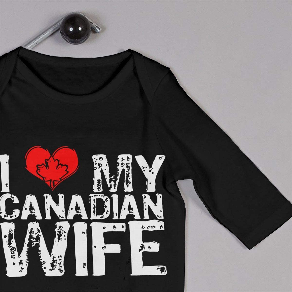I Love My Canadian Wife Printed Baby Boys Girls Jumpsuit Long Sleeve Romper Black