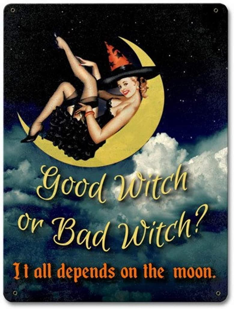Amazon Com Tymall Good Witch Or Bad Witch Witch Pin Up Broomsticks Vintage Halloween Decor Inspired Metal Sign 8x12 Inches Wall Art Signs Posters Prints