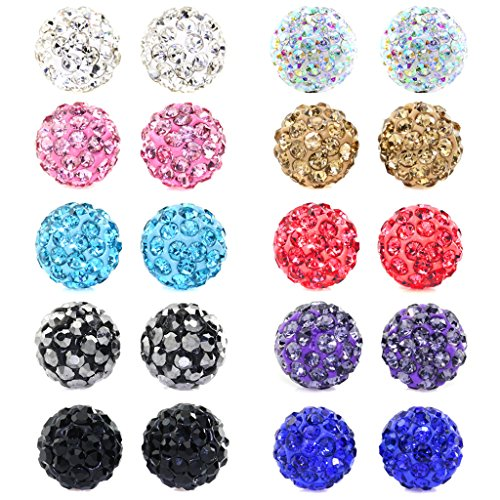 Aprilsky Rhinestones Crystal Fireball Disco Ball Pave Bead Stud Earrings Stainless Steel Hypoallergenic 6mm Mix Color Pack