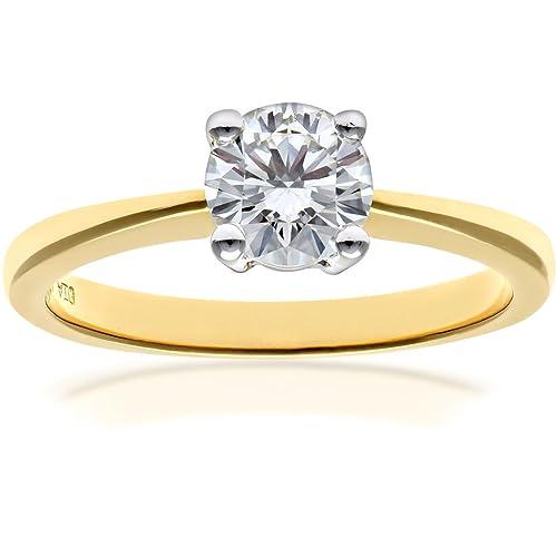 Naava Anillo para Mujer de Oro amarillo 18K con Diamante 1.0 ct Talla 13.5