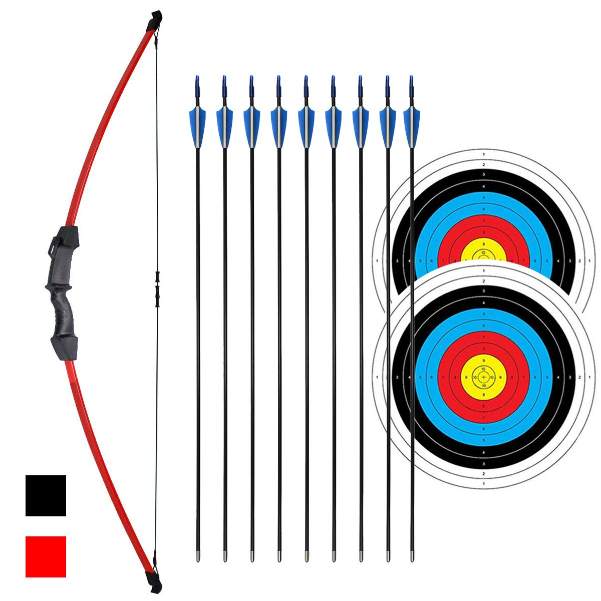 iMay 45'' Bow and Arrows Set with 9 Arrows 2 Target Faces for Teens Outdoor Archery Beginner Gift Recurve Bow Longbow Kit (Red)