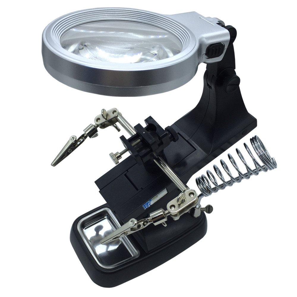 VSONE 3X/4.5X Terza Mano Supporto di Precisione Per Saldature Con Lente d'ingrandimento e Lampada a LED (Nero) VISIONU