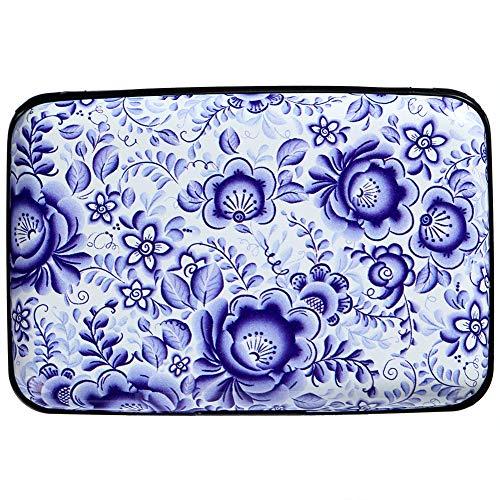 Aluminum RFID Blocking Armor Wallet Credit Card Holder Metal Business Card Case (Blue Floral Russian Gzhel) ()