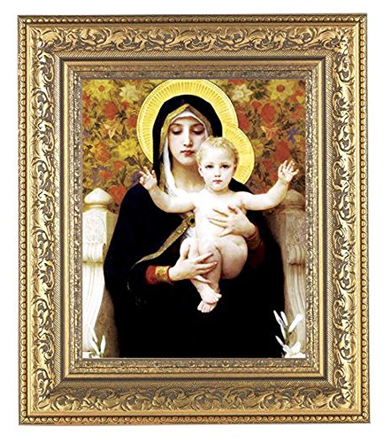 Bouguereau - Madonna of the Flowers Print in a Beautifully Detailed Ornate Gold Leaf Antique 12 1/2