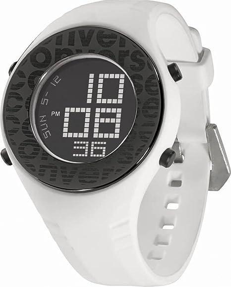 Converse VR007-100 - Reloj digital unisex de cuarzo con correa de silicona blanca (alarma, cronómetro) - sumergible a 50 metros: Amazon.es: Relojes