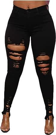 UOFOCO High Waist Jeans Women Button Pockets Holes Denim Skinny Long Pants Trousers