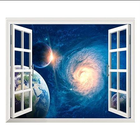 (Hjcmhjc) Blau 3D Galaxy Wandaufkleber Weltraum Planeten Aufkleber Abnehmbare Tapete Fenster Landschaft Wandtattoos Für Wohnz