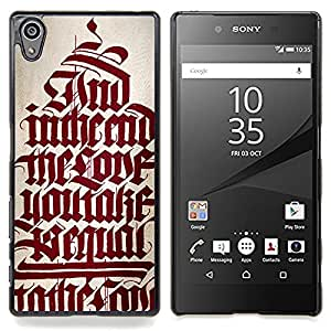 /Skull Market/ - Bible Red Calligraphy Text Medieval Quote For Sony Xperia Z5 5.2 Inch Smartphone - Mano cubierta de la caja pintada de encargo de lujo -