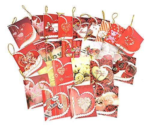 Heart Common Card (Kinteshun Love Heart Greeting Card Mini Postcard Message Card Valentine Gift Card(25pcs,Assorted Patterns))