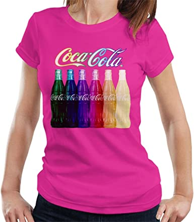 Coca Cola Rainbow Multi Bottles Womens T-Shirt