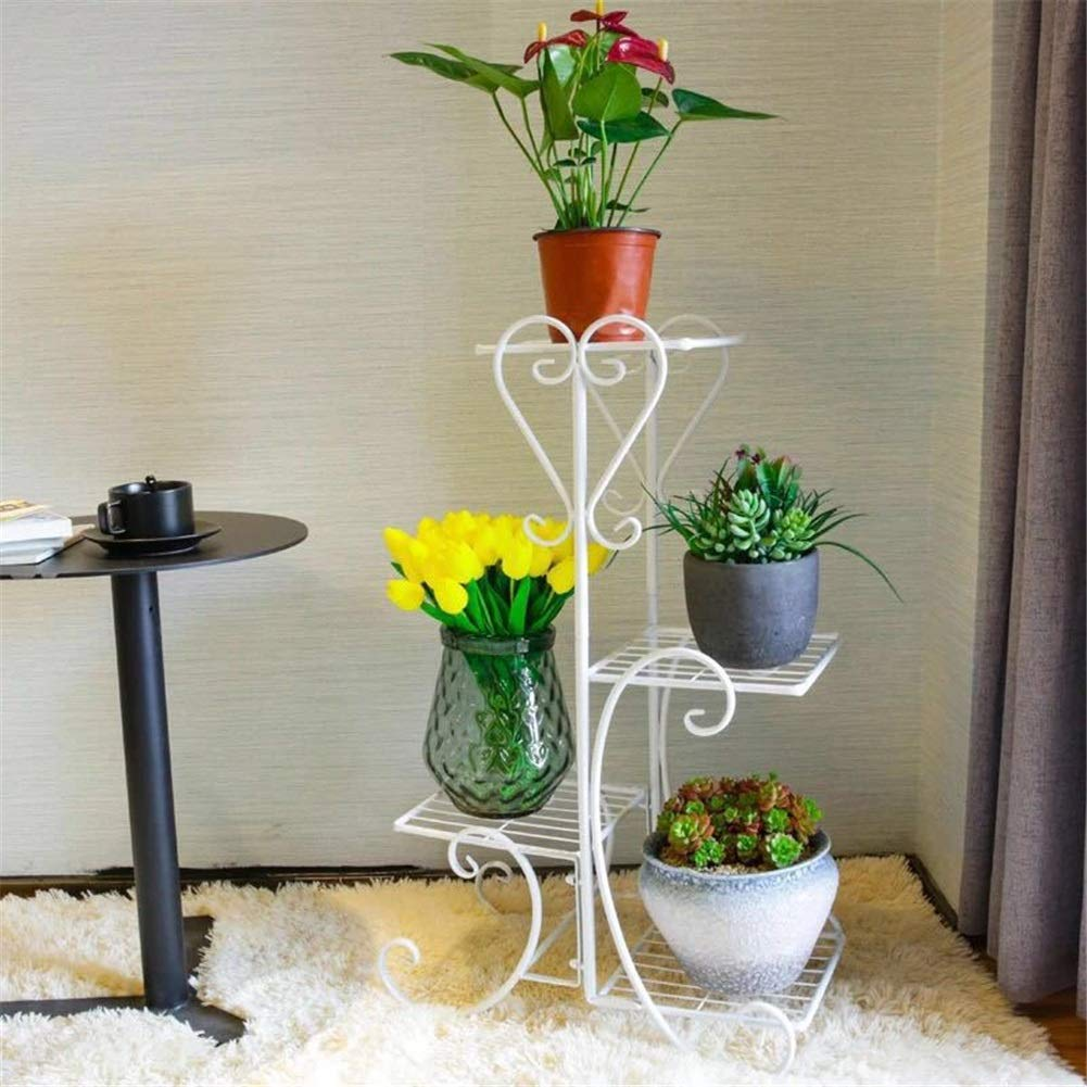 Flower Stand, Flower Flower Nordic Iron Art Multi-piano Salone di montaggio Flower Stand Balcone European Flower Shelf Indoor Iron Art Flower Pot Rack ( colore   Bianca , Dimensione   825525cm )