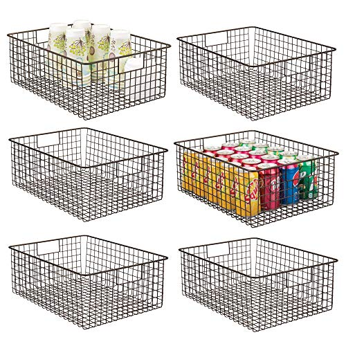 mDesign Farmhouse Decor Metal Wire Food Organizer Storage Bin Baskets with Handles for Kitchen Cabinets, Pantry, Bathroom, Laundry Room, Closets, Garage – 6 Pack – Bronze