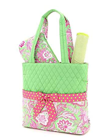 e49499255e Amazon.com   Belvah Quilted Floral 3pc Diaper Bag (Lime  Fuchsia)   Diaper  Tote Bags   Baby