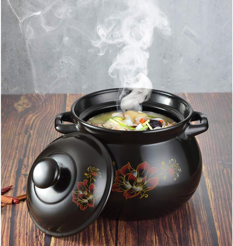 Ceramic Oval Casserole Dish,Flower Pattern Earthen Pot Clay Pot Soup Pot with Lid Heat-Resistant Saucepan for Slow Cooking Black 4quart