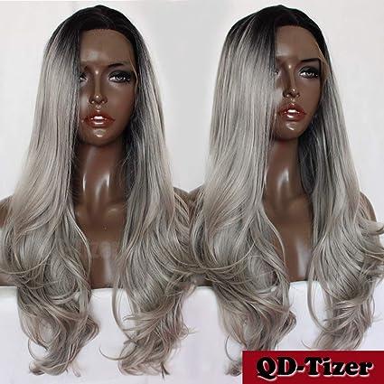 QD-Tizer peluca de encaje sintético frontal gris plata Ombre natural ondulado encaje frontal peluca
