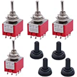 Twidec/4Pcs Mini Toggle Switch 3PDT 3 Position 9 Pins ON/OFF/ON Miniature Toggle Switch AC 6A/125V 2A/250V Car Boat Switches