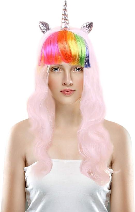 Rainbow Wig Adult Womens Bob Halloween Costume Fancy Dress