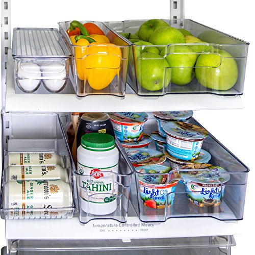 Refrigerator Organizer Storage Bins, Drink Holder and Egg Holding Tray