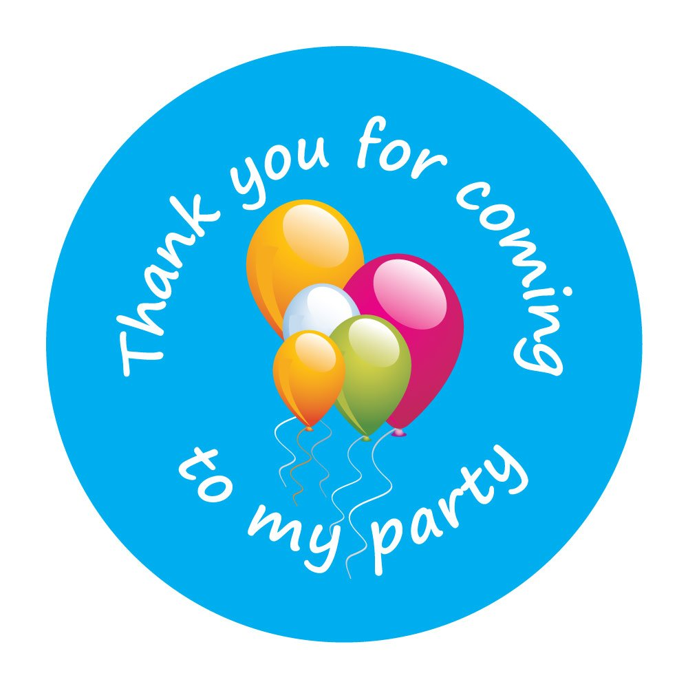 'Thank You For Coming To My Party' - 60mm Birthday Stickers - Blue Party Balloon Design (12) StickerZone