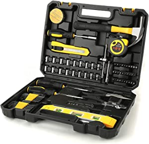 Ditole 78-Piece Tool Set - General Household Hand Tool Kit for Home - with Plastic Toolbox Storage Case – Socket & Socket Wrench Sets – Perfect for Home Repair, Auto Repair, DIY