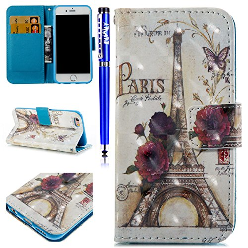 EUWLY iPhone 6 Plus/6S Plus Case,iPhone 6 Plus/6S Plus Leather Wallet Case,3D Colorful Art Painted Painting Pattern Ultra-Thin Slim PU Leather Protective Sleeve Stand Feature with Lanyard Book Style M Tower