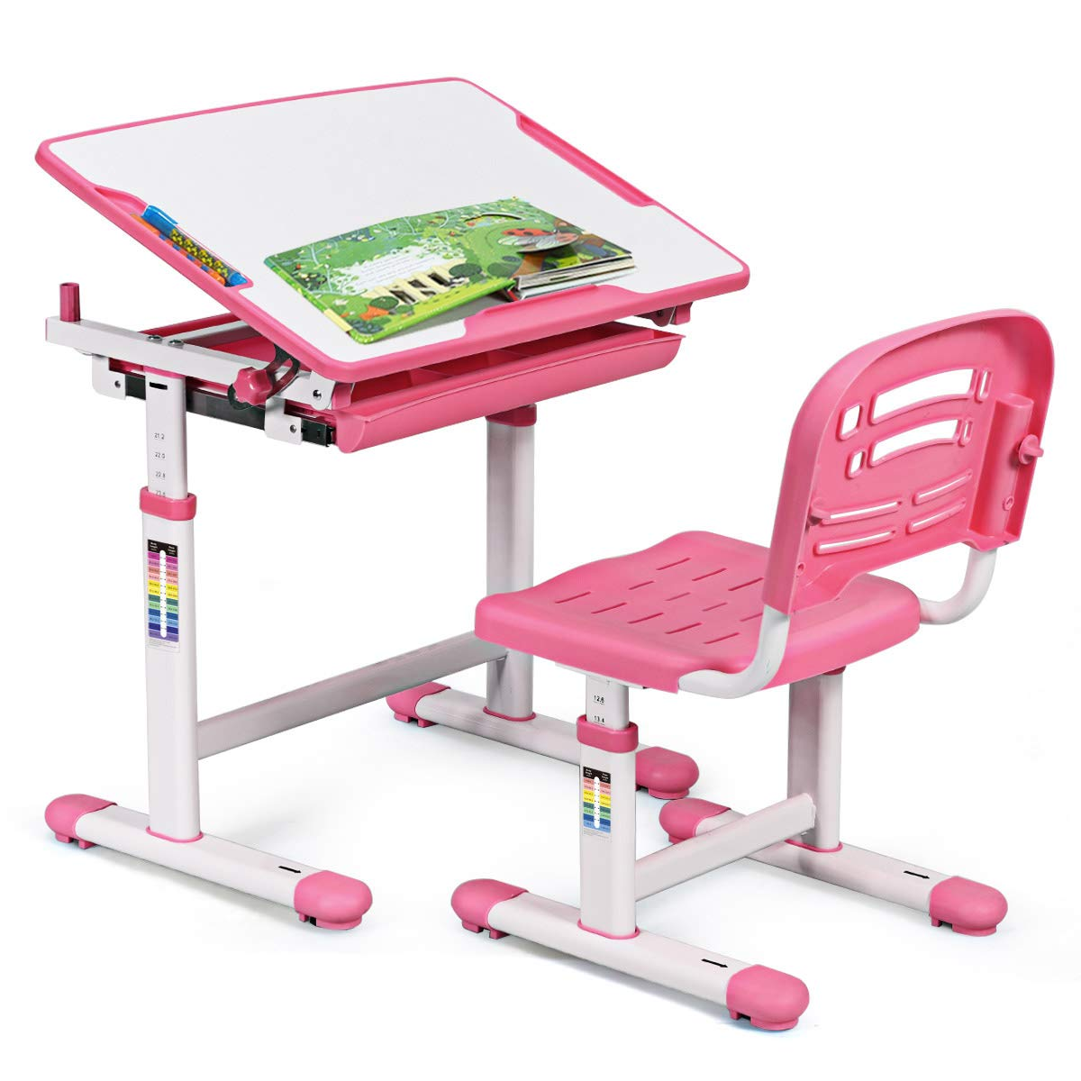 BABY JOY Kids Desk and Chair Set, Height Adjustable, Pull Out Spacious Storage Drawer, Kids Study Table with Tilted Desktop (Pink) by BABY JOY