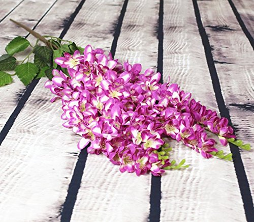 jiumengya 6pcs Thai Orchid Fake Chlorophytum Flowers 70cm Artificial Flowers Freesia Bracketplant 5 Stems for Wedding Centerpieces Hanging Flowers (purple) by jiumengya