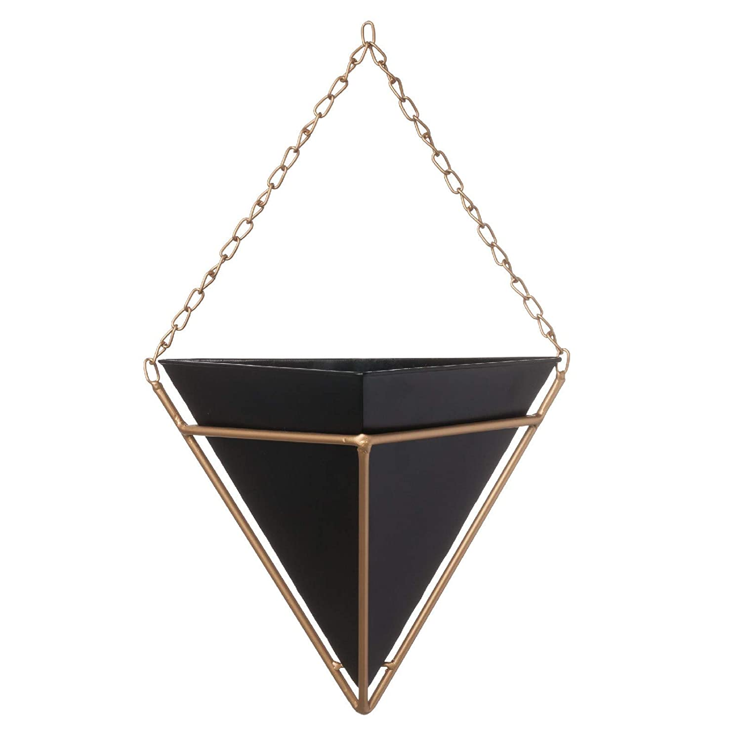Black Gold Wall Pocket Hanging Triangle Planters Set of 2 Geometric with Gold Chain and Frame