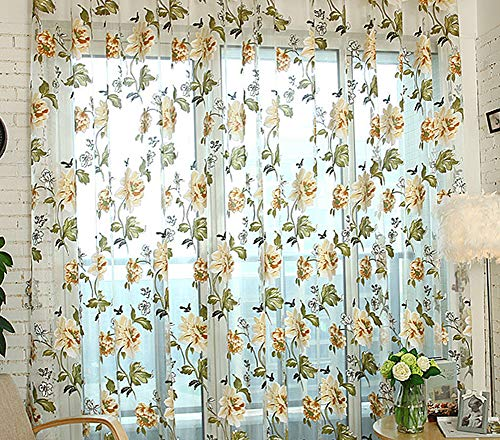 BW0057 Elegance Casual Style Gorgeous Peony Printing Sheer Curtains Rod Pockets Top Window Treatment Drape Voile Panel for Living Room Bedroom and Kids Room(1 Panel, W 52 x L 63 inch, Yellow)