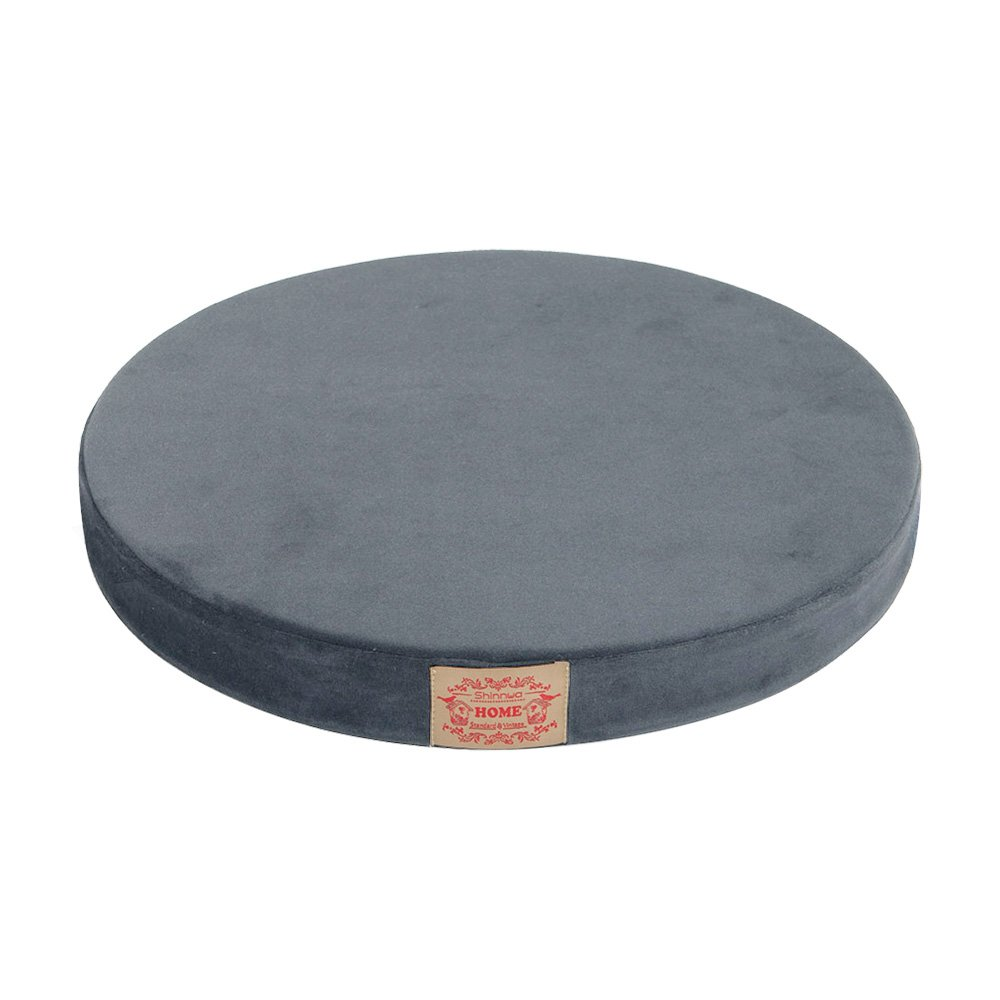 Shinnwa Polyester Supper Soft Cushion Round Memory Foam Seat Cushion Short Plush Lumbar Support Pillow Home Office Chair Pad Grey 16''