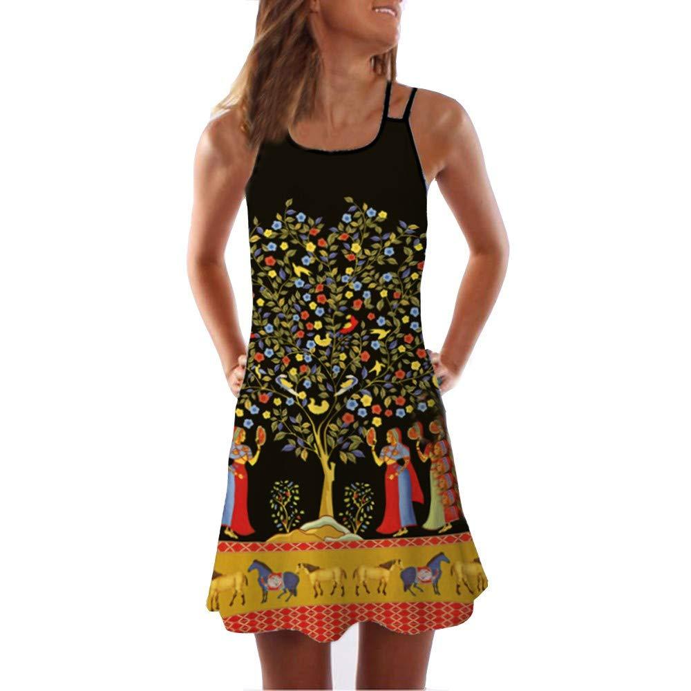 URIBAKY Vintage Bohe Damen Sommerkleider,ärmellose Tank Kleider kurz,3D-Blumendruck Strandkleid