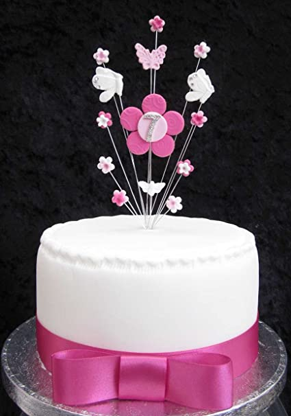 Prime 7Th Birthday Cake Topper Pink And White Flowers And Butterflies Personalised Birthday Cards Epsylily Jamesorg