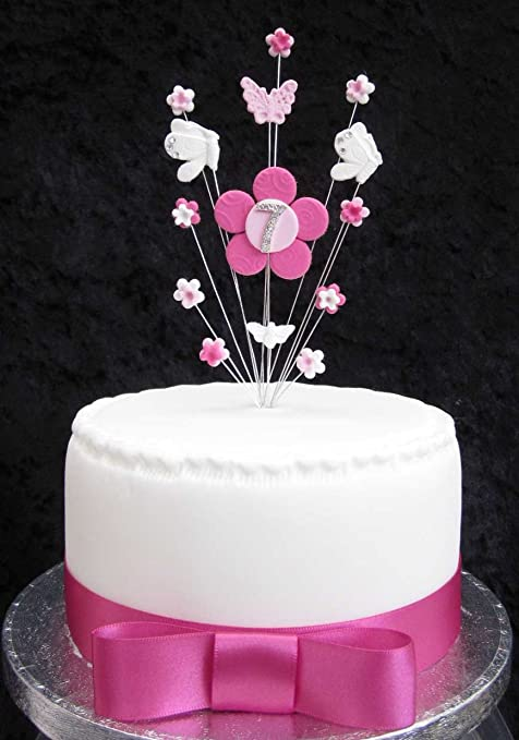 7th Birthday Cake Topper Pink And White Flowers And Butterflies