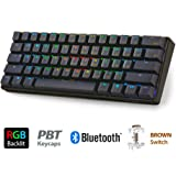 LeaningTech LTC K61 61-Key RGB LED Backlit Bluetooth Wireless/Wired Multi-Device Mechanical Keyboard for PC / Mac / iPad / iPhone / Smartphone / Laptop, Brown Switch