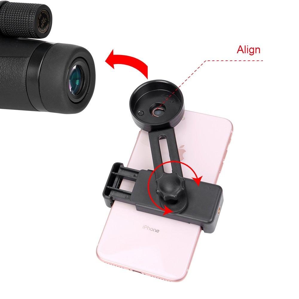 Smatree Telescopio monocular HD de Alta Potencia 12x50 para tel/éfonos Inteligentes con Soporte para tel/éfono y tr/ípode Antideslizante para Viajes de Camping
