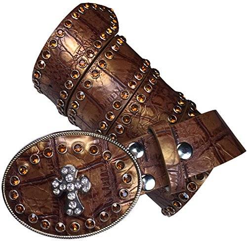 Isabella's Journey Belt It Out Copper Studded Rhinestone Belt Fits 36-42