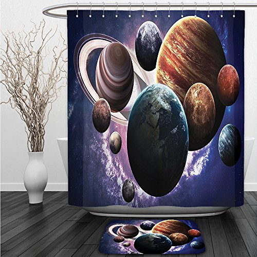 Vipsung Shower Curtain And Ground MatSpace Set Solar System Planets All Together in Space Mercury Jupiter Globe Saturn Universe Concept MultiShower Curtain Set with Bath Mats Rugs by vipsung