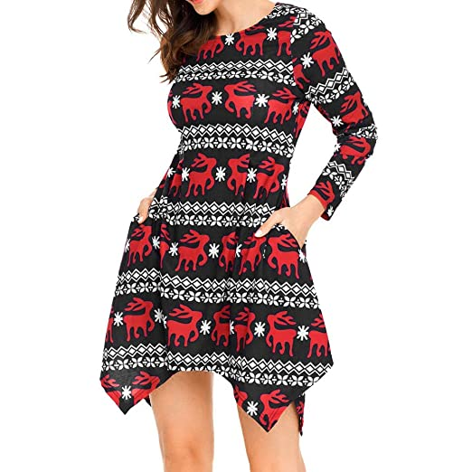 b4fb03ef457 Howley Dress Women Xmas Christmas Skirt Long Sleeve Santa Outfit Christmas  Cozy Flared Dress at Amazon Women's Clothing store: