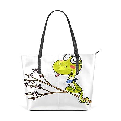 Womens Leather Top Handle Shoulder Handbag Cute Snake Large Work Tote Bag