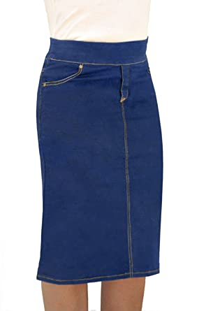2ee9cc244a5 Kosher Casual Women s Denim Fitted Pencil Skirt Knee Length with  Overlapping Back Slit - New Sizing - New Sizing at Amazon Women s Clothing  store