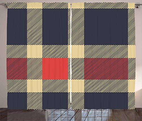 (Ambesonne Checkered Curtains, Vintage Plaid Scottish Tartan Pattern with Retro Display Checks Lines, Living Room Bedroom Window Drapes 2 Panel Set, 108 W X 84 L Inches, Dark Blue Coral Cream)