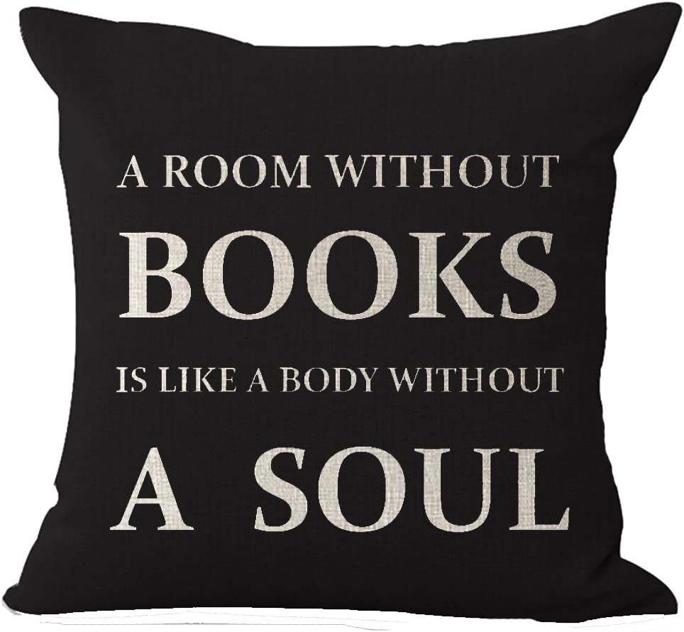 Queen's designer Book Lover Reading Book Club A Room Without Books is Like A Body Without A Soul in Black Cotton Linen Decorative Throw Pillow Case Cushion Cover Square 18