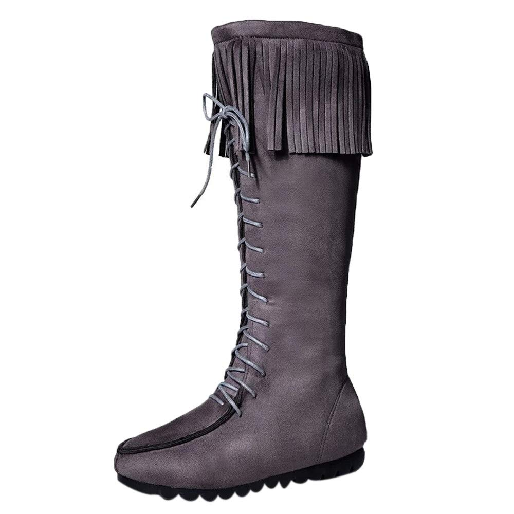 ⚡ HebeTop ⚡ Western Womens Fringe Moccasin Mid-Calf Boots Gray by HebeTop➟Shoes Accessory